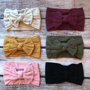 Other - Brand New Set of 6 Cable Knit Nylon Bow Headbands